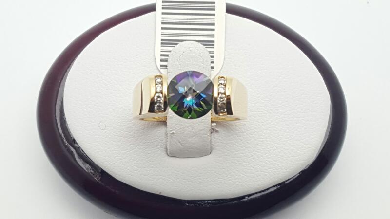 Blue Topaz Lady's Stone & Diamond Ring 8 Diamonds .16 Carat T.W.
