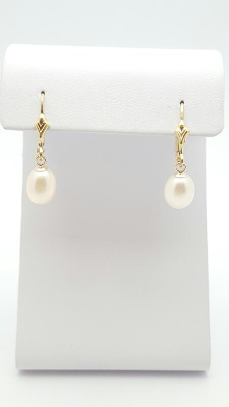 Pearl Gold lever back Earrings 14K Yellow Gold 2g