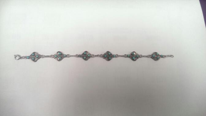 Turquoise Silver Bracelet 925 6.6g