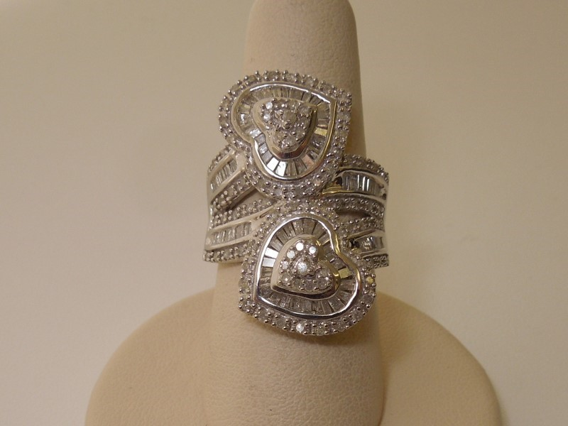 Lady's Silver-Diamond Ring 167 Diamonds 1.71 Carat T.W. 925 Silver 7.9g Size:6
