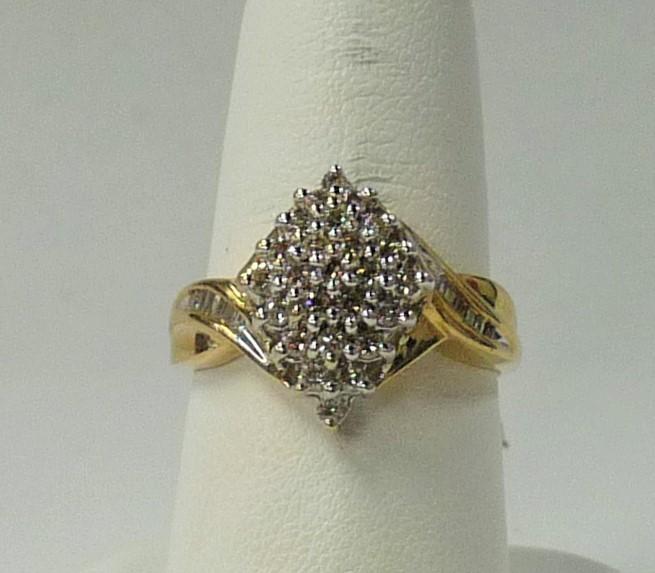 Lady's Diamond Cluster Ring 36 Diamonds .72 Carat T.W. 10K Yellow Gold 2.19dwt