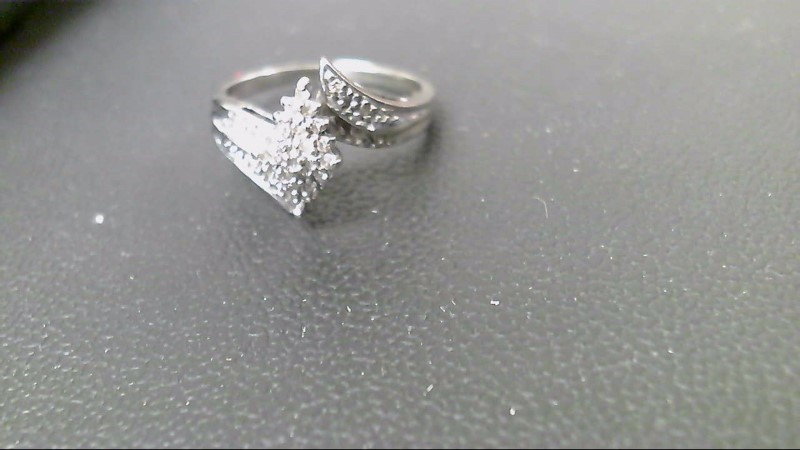Lady's Diamond Cluster Ring 35 Diamonds .35 Carat T.W. 10K White Gold 3.5g