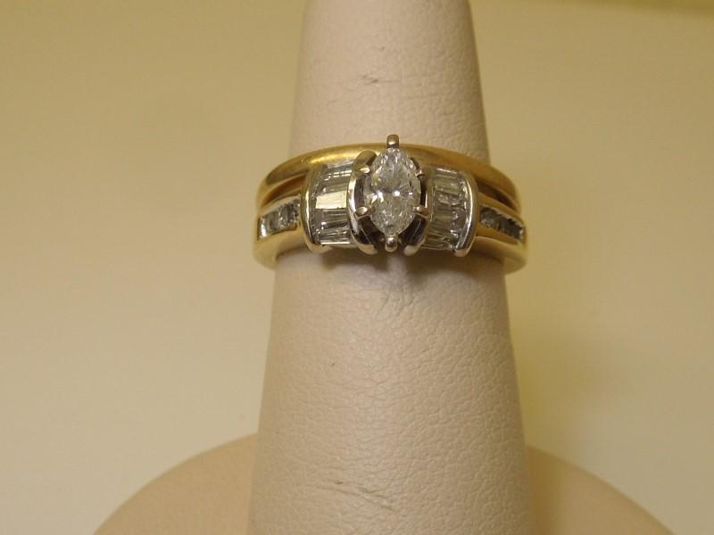 Lady's Diamond Wedding Set 17 Diamonds .66 Carat T.W. 14K Yellow Gold 6.2g