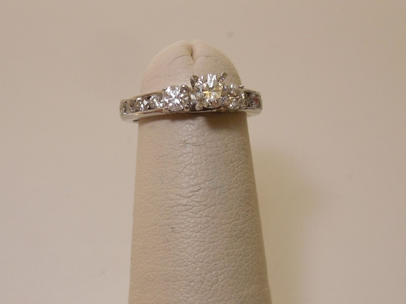 Lady's Diamond Cluster Ring 11 Diamonds .64 Carat T.W. 14K White Gold 2.5g