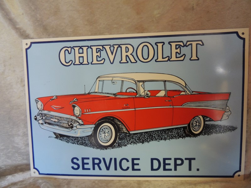 "18"" X 12"" CHEVROLET SERVICE DEPT. TIN SIGN"
