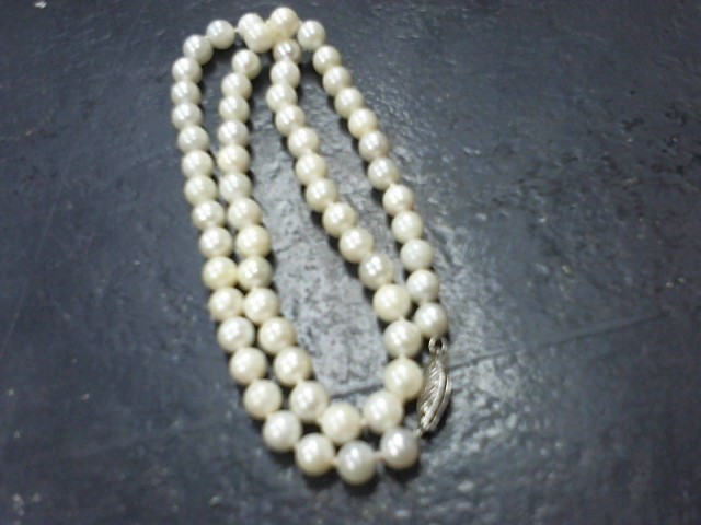 Pearl Stone Necklace 14K White Gold 17.8g