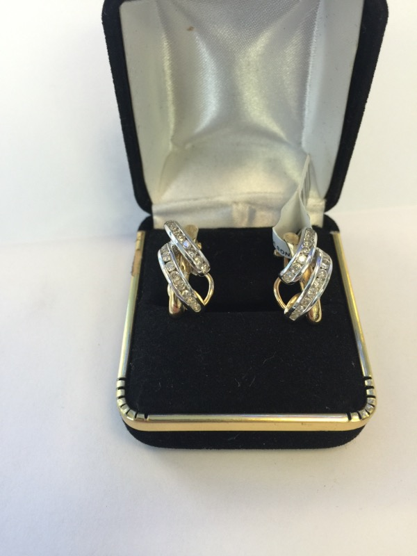 Gold-Diamond Earrings 32 Diamonds .32 Carat T.W. 14K 2 Tone Gold 4.5dwt