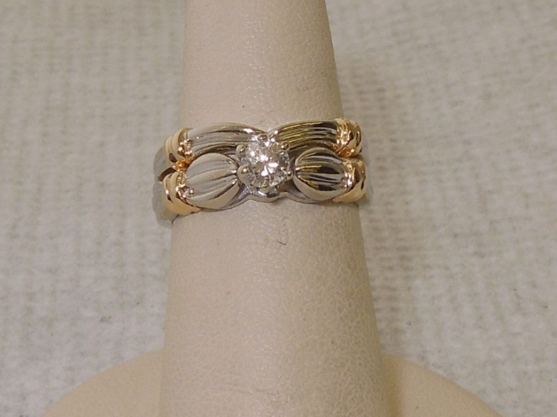 Lady's Diamond Solitaire Ring .25 CT. 14K 2 Tone Gold 6.2g