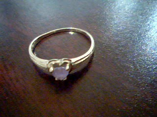 Synthetic Amethyst Lady's Stone Ring 10K Yellow Gold 1.2g Size:6.8