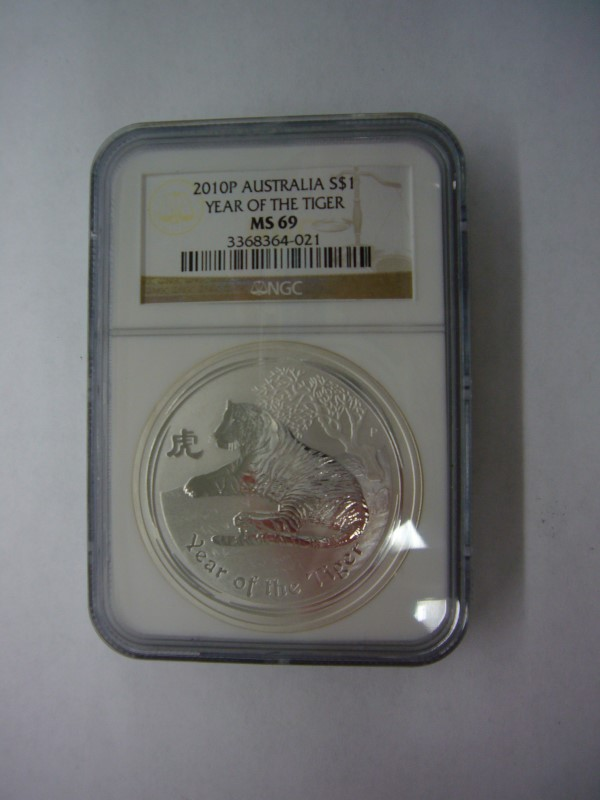 2010P AUSTRALIA YEAR OF THE TIGER 1OZ SILVER MS69