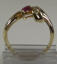 Red Stone Lady's Stone & Diamond Ring 5 Diamonds .05 Carat T.W. 14K Yellow Gold