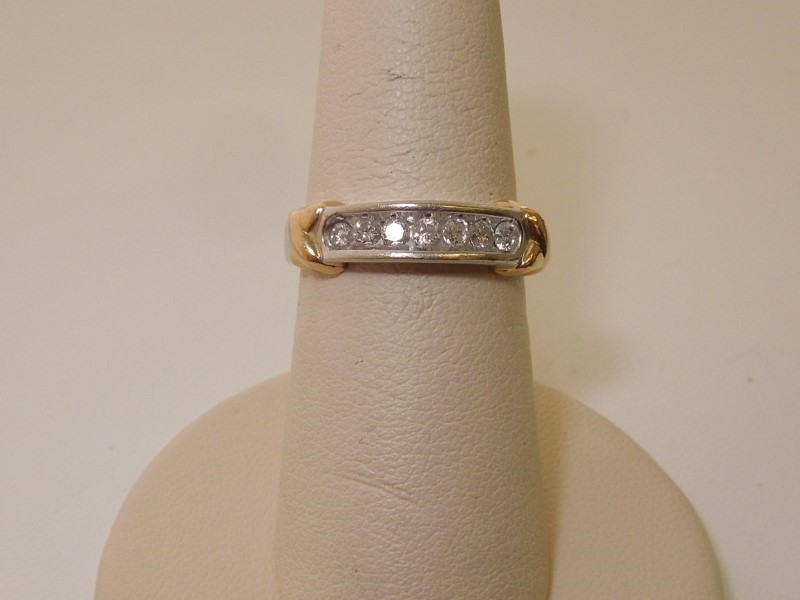 Lady's Diamond Fashion Ring 7 Diamonds .35 Carat T.W. 10K 2 Tone Gold 3.5g