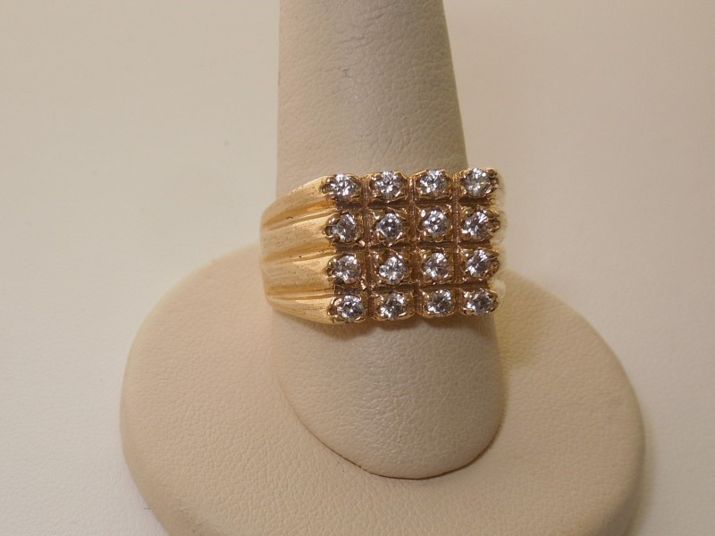 Synthetic Cubic Zirconia Gent's Stone Ring 10K Yellow Gold 7.6g Size:10.5