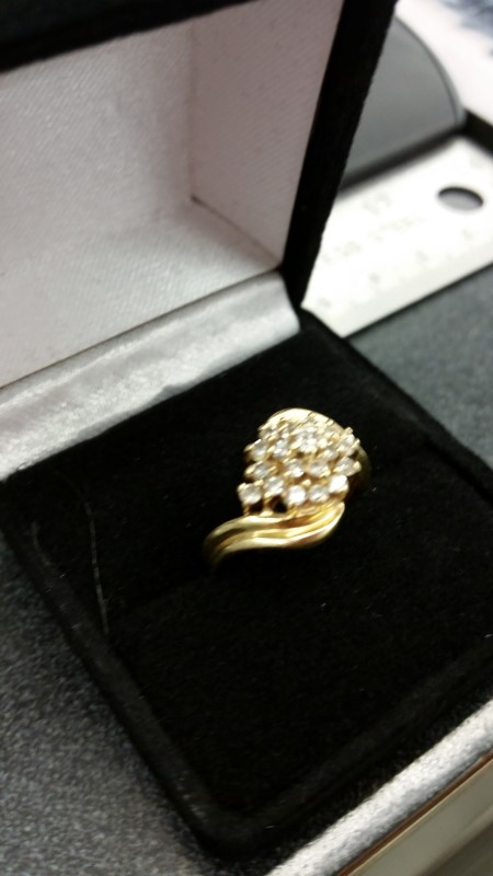 Lady's Diamond Cluster Ring 19 Diamonds .59 Carat T.W. 14K Yellow Gold 4.4g