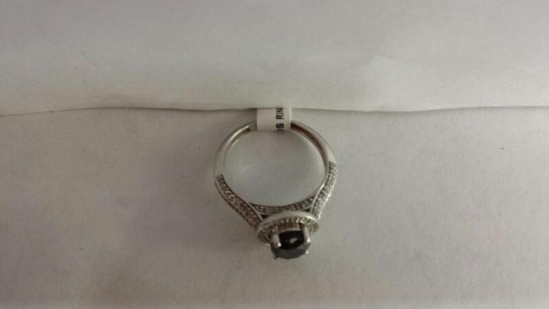 10k White Gold Ring with 1 Black Diamond and 151 Diamond Chips