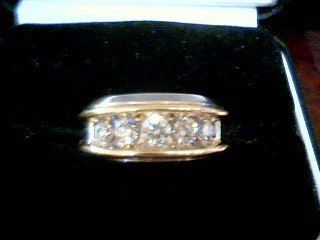 Gent's Gold-Diamond Wedding Band 6 Diamonds 1.72 Carat T.W. 14K 2 Tone Gold