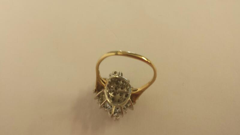 Lady's Diamond Cluster Ring 46 Diamonds .46 Carat T.W. 14K 2 Tone Gold 4.6dwt