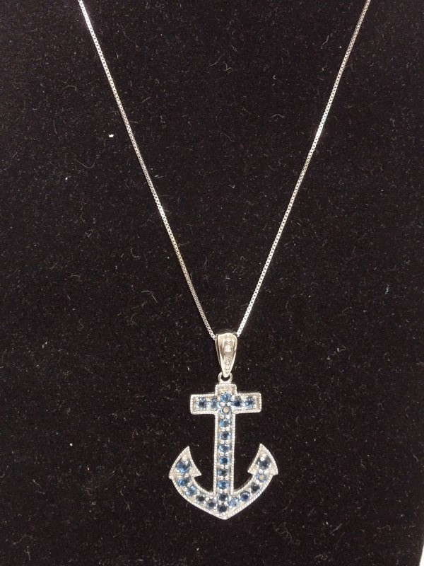 Synthetic Sapphire Gold-Diamond & Stone Pendant 2 Diamonds .02 Carat T.W.
