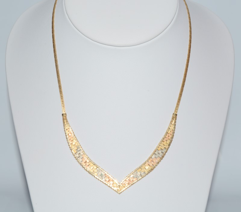 "12"" Tri-Color Gold Woven Choker Necklace"