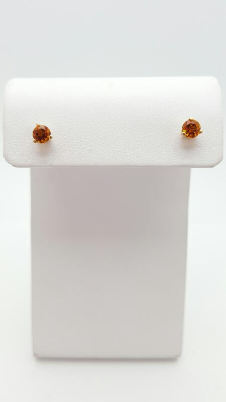 Citrine Gold-Stone Earrings 14K Yellow Gold 0.7g