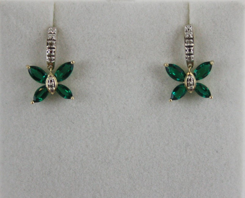Synthetic Emerald & Diamond Butterfly Earrings 14KT YG 1.3G