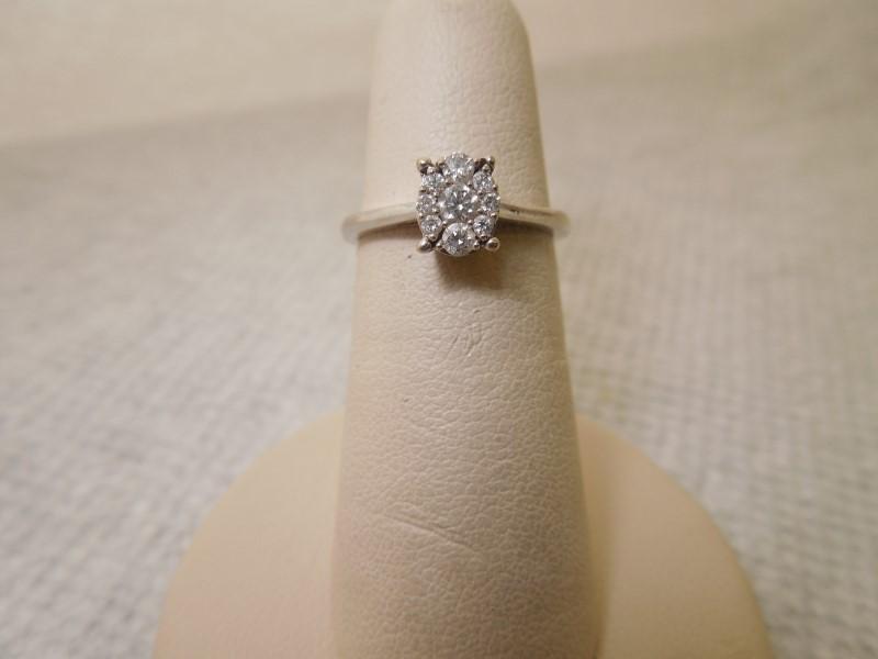 Lady's Diamond Engagement Ring 9 Diamonds .23 Carat T.W. 10K White Gold 2.1g