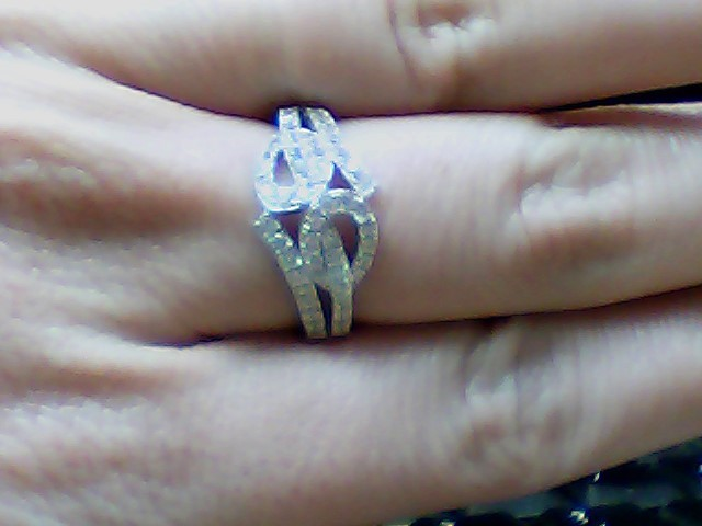 White Stone Lady's Silver & Stone Ring 925 Silver 3.6g