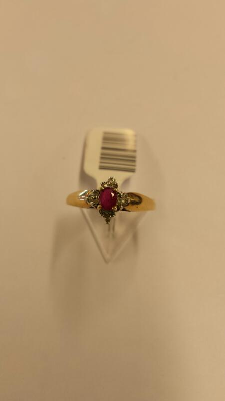Ruby Lady's Stone & Diamond Ring 12 Diamonds .12 Carat T.W. 10K Yellow Gold