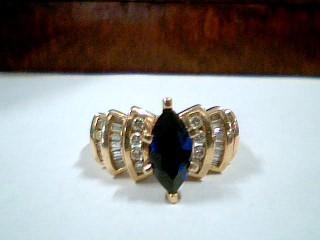 Synthetic Sapphire Lady's Stone & Diamond Ring 32 Diamonds .32 Carat T.W.