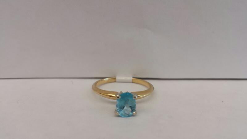 14k Yellow Gold Wing with Blue Oval Stone