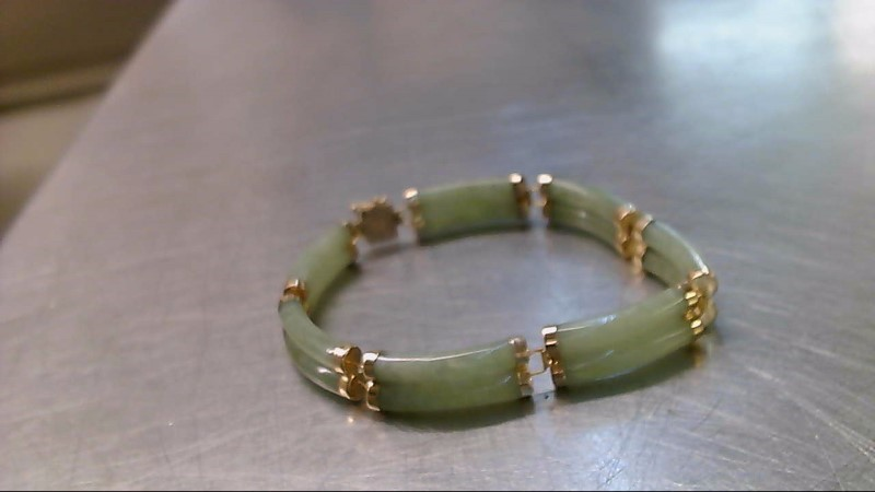 Synthetic Jade Gold-Stone Bracelet 14K Yellow Gold 22.1g