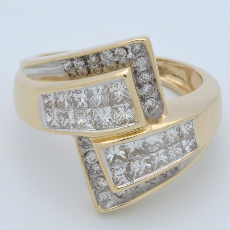 ESTATE DIAMOND RING SOLID 14K GOLD CLUSTER GEOMETRIC DECO COCKTAIL 7