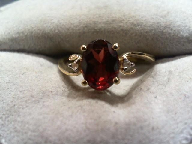 Almandite Garnet Lady's Stone & Diamond Ring 2 Diamonds .02 Carat T.W.