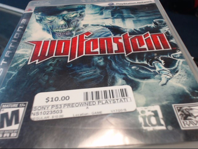 SONY PS3 WOLFENSTEIN