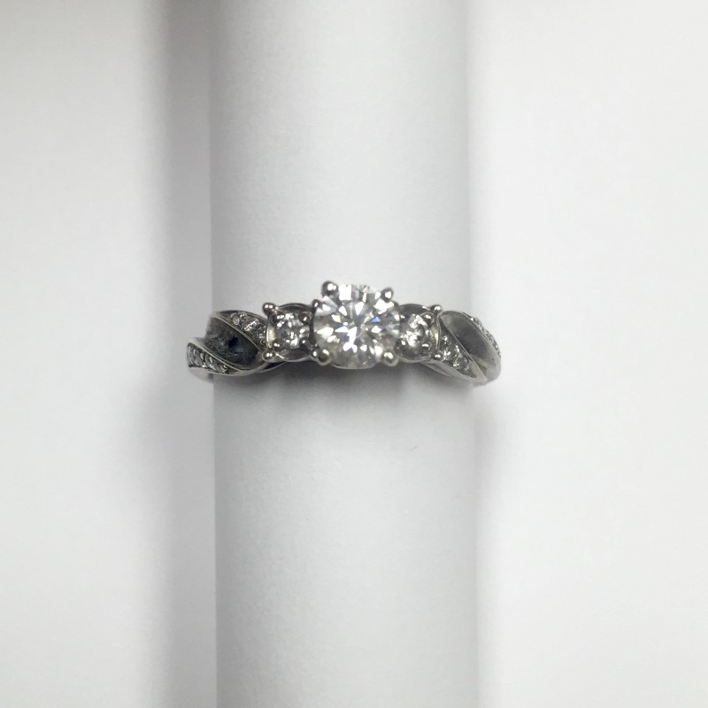 Lady's Diamond Engagement Ring 19 Diamonds .56 Carat T.W. 14K White Gold 2dwt