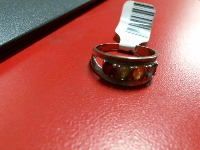 Red Stone Lady's Stone Ring 10K White Gold 3.26g