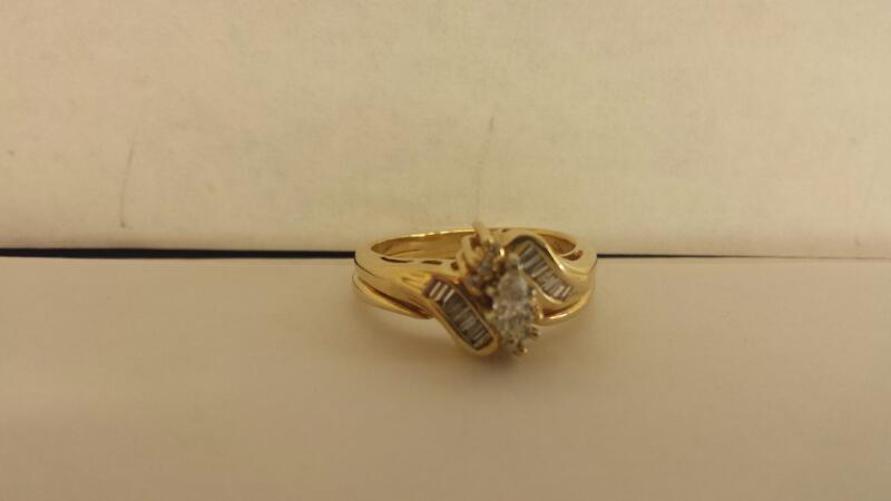 Lady's Diamond Wedding Set 19 Diamonds .38 Carat T.W. 14K Yellow Gold 4.8dwt