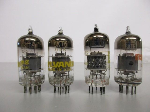 LOT OF FOUR (4) NOS 6KT6 VACUUM TUBES, RCA, RAYTHEON, SYLVANIA