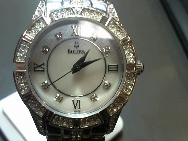 BULOVA Synthetic Cubic Zirconia Lady's Wristwatch C6337017 Silver Stainless