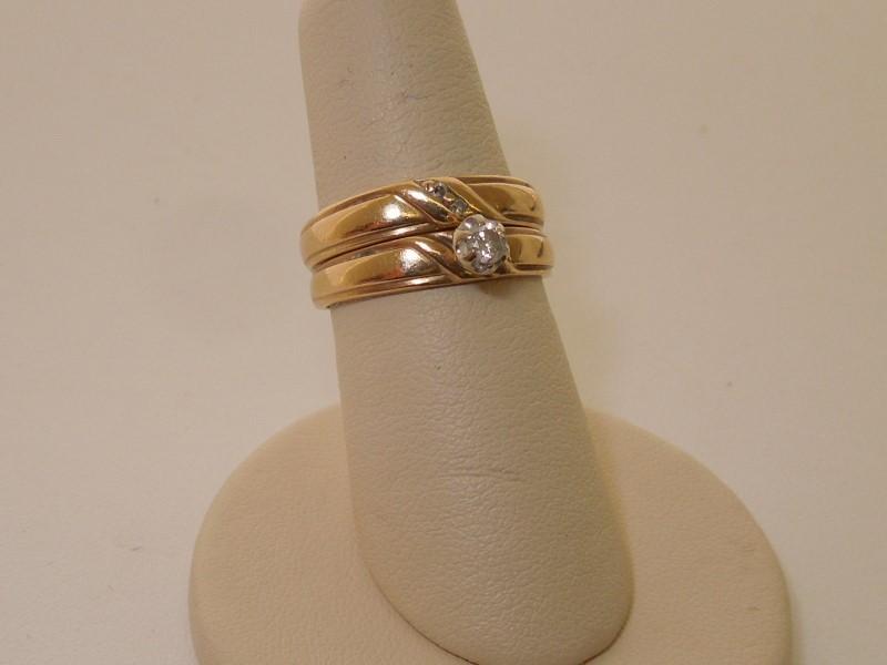 Lady's Diamond Wedding Set 3 Diamonds .12 Carat T.W. 10K Yellow Gold 3.4g