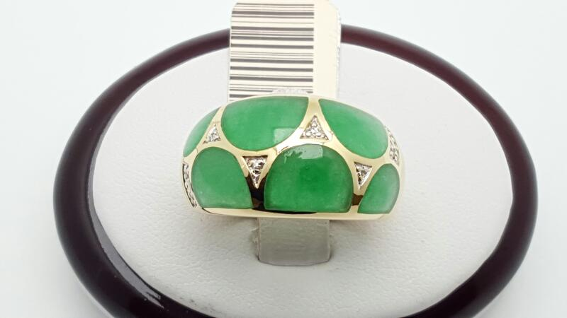 Jade Lady's Stone Ring 14K Yellow Gold 6.5g Size:9