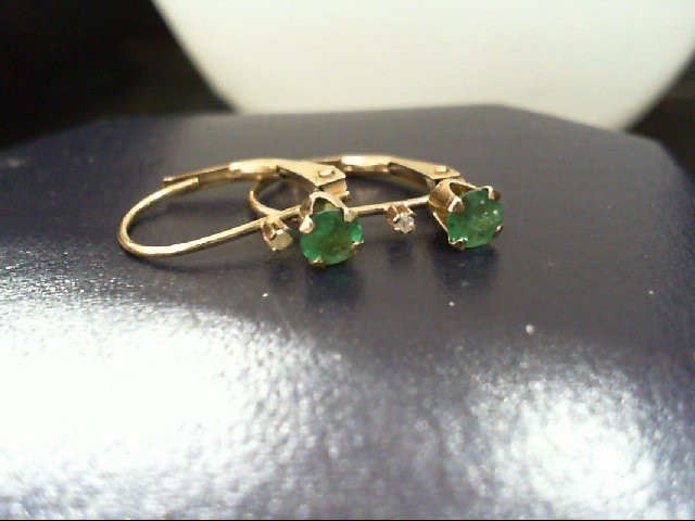 Emerald Gold-Diamond & Stone Earrings 2 Diamonds .010 Carat T.W.