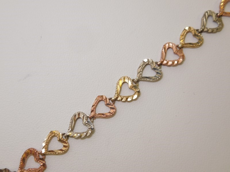 Gold Fashion Bracelet 14K Tri-color Gold 6.6g