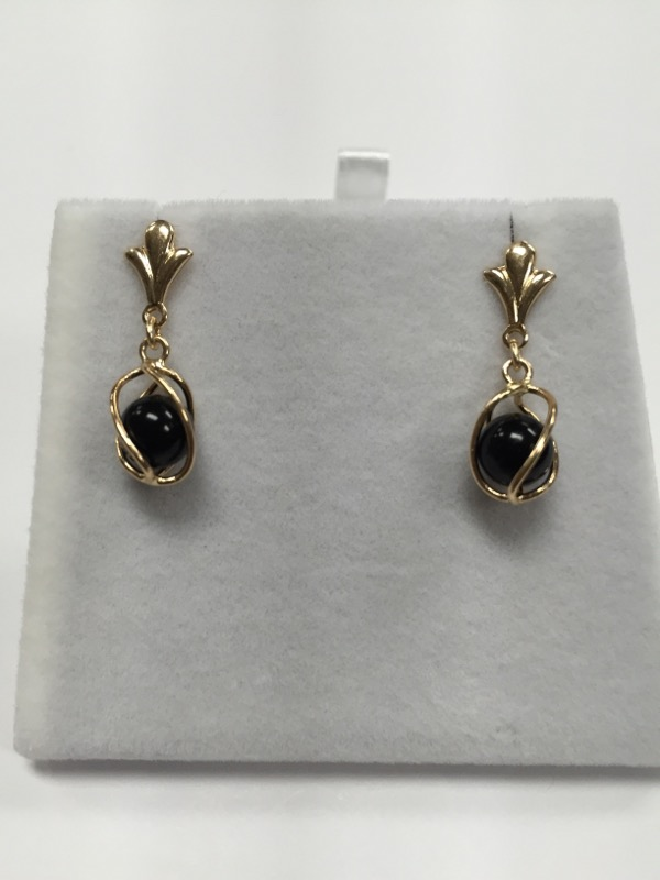 14K Gold Black Stone Orb Drop Earrings