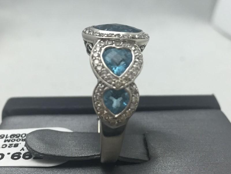 Synthetic Aquamarine Lady's Stone & Diamond Ring 82 Diamonds .82 Carat T.W.