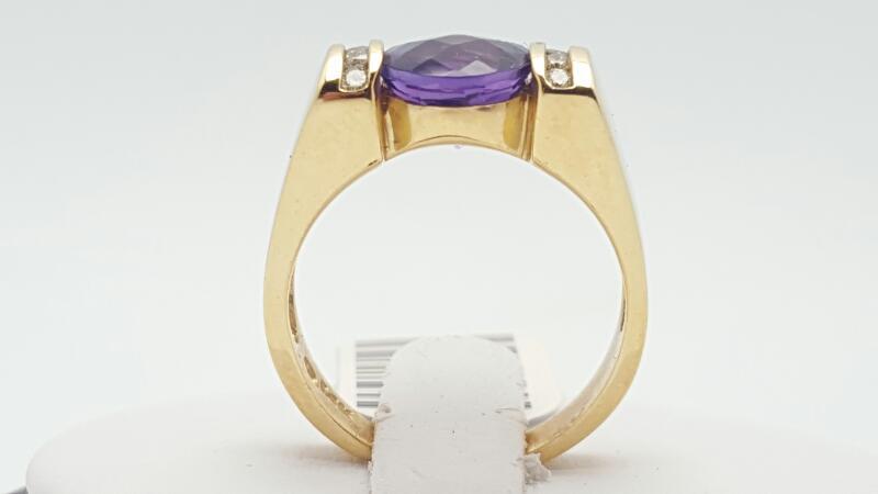 Amethyst Lady's Stone & Diamond Ring 8 Diamonds .16 Carat T.W. 14K Yellow Gold