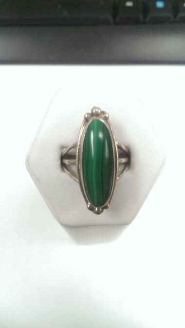 Malachite Lady's Silver Ring 925 6.9g Size:7.75