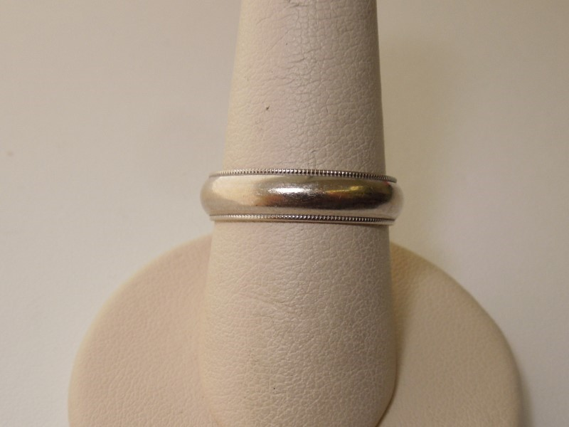 Gent's Gold Wedding Band 14K White Gold 5.1g Size:8