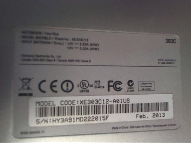 SAMSUNG PC Laptop/Netbook XE303C12-A01US