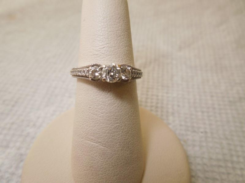 Lady's Diamond Engagement Ring 19 Diamonds .61 Carat T.W. 14K White Gold 3.7g